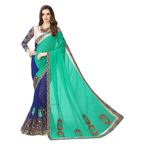 99e03b14cd Sea Green And Dark Blue Casual Wear Indian Fancy Saree, Rs 800 ...