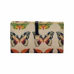 Multi Tassar Silk Casual With Pink Green Butterfly Designs Clutch