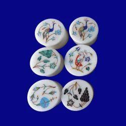 Set Of Six Jewelry Ring Box Makrana Stone White Handmade