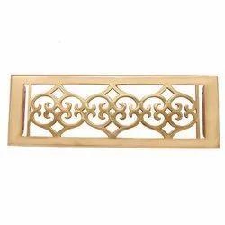 Flower Brass Wall Register with Louver - 4inch x 12inch (5-1/2inch x 13-1/2inch Overall)
