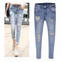 Female Blue Rugged Jeans
