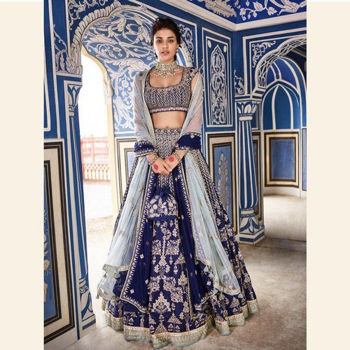 Bridal Lehenga Choli Graceful Navy Blue Colored Party Wear