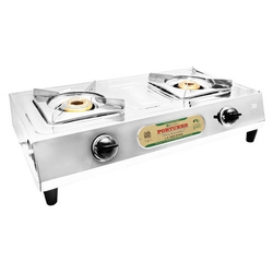 Silver 2 Burner Super SS PS Gas Stove for Kitchen, Model No.: 2b Super-ssps