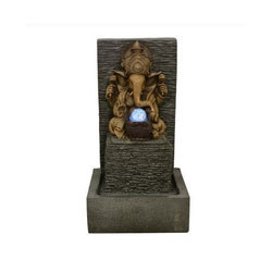 Grey With Gold Color Indoor Tabletop Fountain