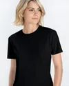 Women Black Plain T-Shirt
