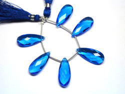 Swiss Blue Topaz Quartz Pear Beads