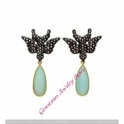 Butterfly Jewelry Aqua Chalcedony Gemstone Earring