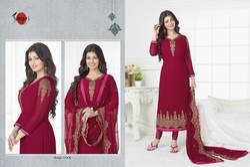 Embroidered 3/4 Sleeve Suhati Salwar Suit Fabric