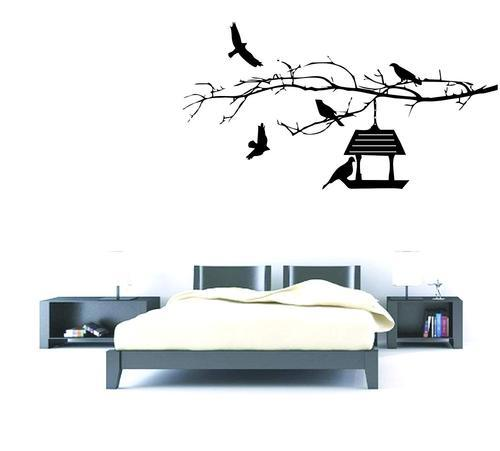 84dc3906dab Amazon Brand - Decor Kafe Flying Birds and Birdhouse Wall Stickers PVC Vinyl