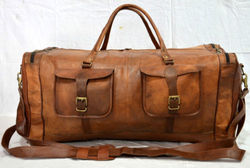 Vintage Men Brown Genuine Leather Goat hide Travel Luggage Duffel Gym Bags