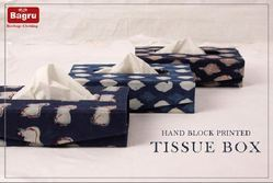 Indigo Printed Cotton Fabric Tissue Box