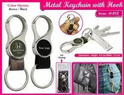 Metal Keychain (Black/Brown) With Hook  H-512