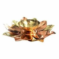 AJN-134 Gold Plated Lotus Diya