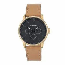 Armitron Snowy Owl 42mm 20-5217bkgptn Dial Tan Leather Strap Watch