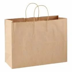 Brown Plain Kraft Paper Carry Bag, for Shopping/Grocery, Bag Size: 22x15x20cm