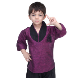 Plain Full Sleeve Bad Boys Purple Designer Kurta