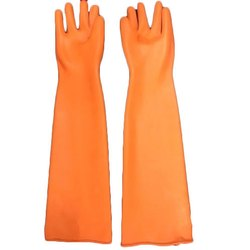 Orange Elbow Length Latex Gloves