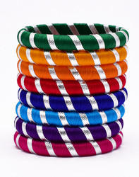 Multicolour Silk Thread Bangle Set With Gota