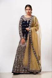 Blue Velvet Wedding Gown