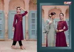 Party Wear For Stylish Rayon Two Tone With Embroidered Kurtis With Pants
