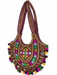 Kutchi Craft Rabari Work Jola Bag(Hobo) with Tiny Mirror.