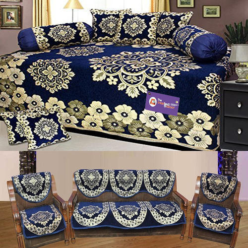 Floral Sofa Cover And Diwan Set Combo