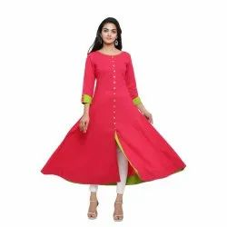 Yash Gallery Women's Cotton Slub Anarkali Kurta