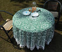 Cotton Round Boho Table Cover with Pom Pom Lace Yin Yang Aqua Green Color