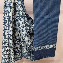 Indigo Bagru Print Cotton Sarees