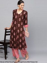 Brown & Pink Floral Printed Straight Kurta With Palazzo Set