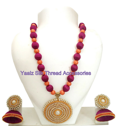 Yaalz Traditional Neckset & Matching Jumka Combo In Burgundy Pink With Orange