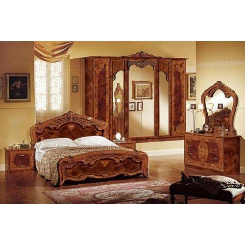 Oak Wood Brown Antique Wooden Bedroom, Vintage Bedroom Furniture Sets