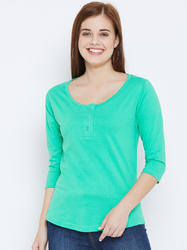 100% Cotton Women's half Sleeves Green Colour t-shirt