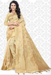 Beige Super Net Saree