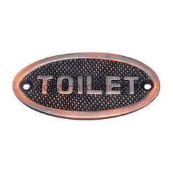 Oval Toilet Brass Sign