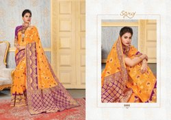 Yellow Color Designer Cotton Chit Pallu Saree