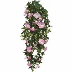 Plastic Green And Pink Artificial Flower Bushes