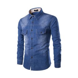 fe1ccf0bc65 Party Wear Men Faded Full Sleeves Denim Shirt