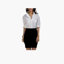 Cotton Black & White Formal Ladies Dress