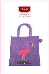 Red And Blue Swan Print Jute Bags
