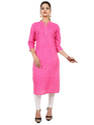 Printed Pink Color Cotton Kurta
