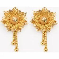 Gold Fancy Flower Shaped Earrings