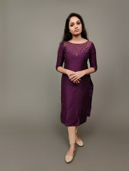 Silk Calf Long Designer Kurti