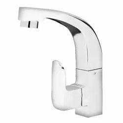 Waterflow Silver Brass Swing Spout Bathroom Sink Cock
