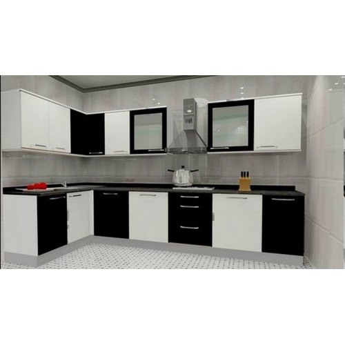 PVC L Shape Modular Kitchen, For Home, Warranty: 1-5 Years