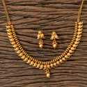 Matte Gold Plated Antique South Indian Necklace 203334