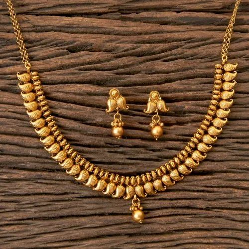 Matte Gold Plated Antique South Indian Necklace 203334 At Rs 775 Set Kalbadevi Mumbai Id 21799547362