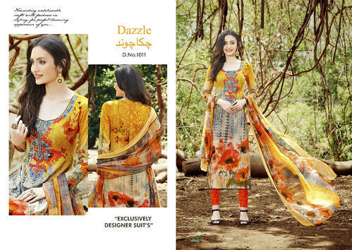 5e77ab0ad8 Dazzle Pure Cotton Embroidery Suit With Digital Print Suit at Rs 625 ...