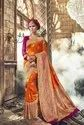 Orange Festive Wear Semi Silk Banarasi Saree With Blouse Piece, Length: 5.5 M