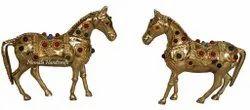 Multicolor Nirmala Handicrafts Brass Horse Statue Multi Stone Work, For Decoration, Size/Dimension: 4''